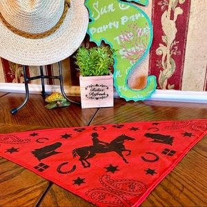 Accessories - VINTAGE Bandana Red and Black with Horse Print